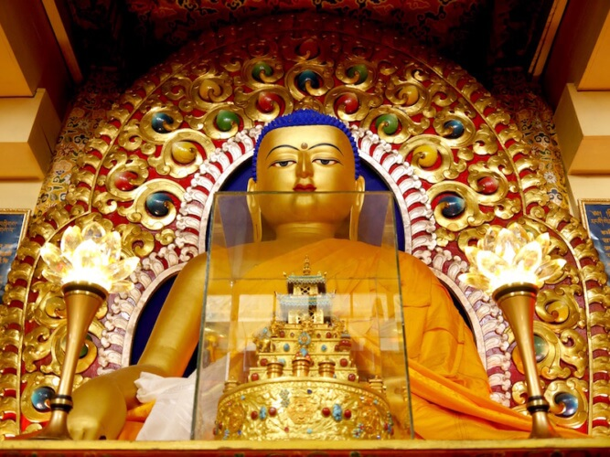 The statue of Buddha, Tsuglagkhang complex, McLeod Ganj, Dharamsala, India